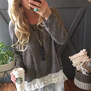 Sweaters - GRAY SHEER LACE HEM PLUS SIZE SWEATER SHIRT TOP X